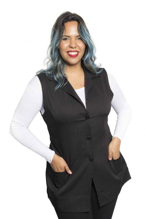 Colete social feminino longo na cor preta em tecido Two Way