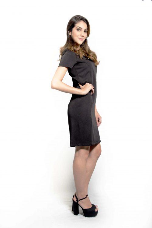 Vestido social feminino em Two Way (com elastano) na cor preta .